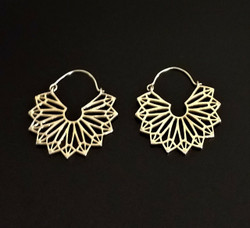 Fair trade brass art deco earrings from India