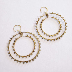 fair trade brass earrings with moonstone from india