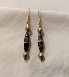 Fair Trade Recycled Bullet Casing and Rolled Paper Earrings from Ethiopia