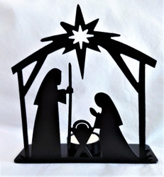 Fair Trade Recycled Metal Nativity with Tealight from India