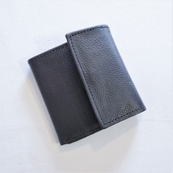 fair trade black snap close leather wallet from Nepal