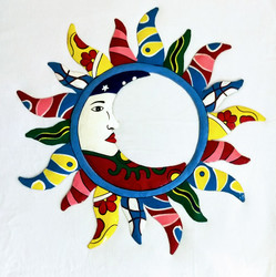 Fair Trade Recycled Steel Drum Sun and Moon Wallhanging from Haiti