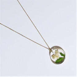 Fair trade elderberry flower and eco resin with gold plated necklace from Colombia