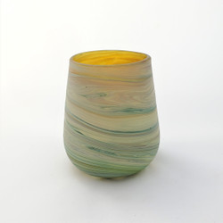Fair trade mouth blown recycled glass candle holder from Palestine