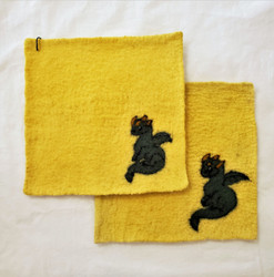 Fair Trade Needle Felted Wool Square Trivet / Potholder with Green Dragon from Kyrgyzstan