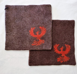 Fair Trade Needle Felted Wool Square Trivet / Potholder with  Phoenix from Kyrgyzstan