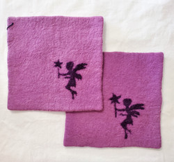 Fair Trade Needle Felted Wool Square Trivet / Potholder with Pixie from Kyrgyzstan
