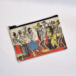 Fair trade cotton screen printed Day of the Dead coin purse from Peru