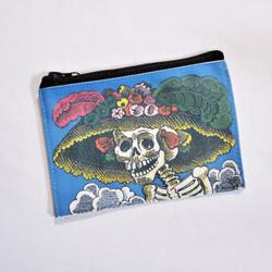Fair trade screen printed Catrina coin purse from Peru