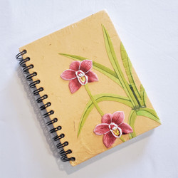 Fair Trade Elephant Pooh Paper Spiral Journal with orchid from Sri Lanka