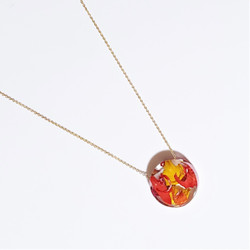 fair trade rose petal eco resin and gold plated necklace from Colombia