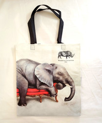 Fair Trade Recycled Plastic Woven Tote from South Africa with Lounging Elephant