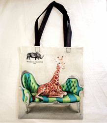 Fair Trade Recycled Plastic Woven Tote from South Africa with Lounging Giraffe
