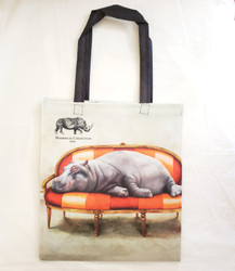 Fair Trade Recycled Plastic Bottle Tote from South Africa with Lounging Hippo