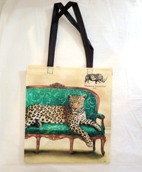 Fair Trade Recycled Plastic Woven Tote from South Africa with Lounging Leopard