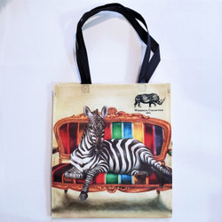 fair trade recycled plastic woven tote from South Africa with Lounging Zebra