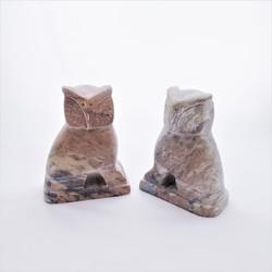 Fair trade gorara stone owl bookends from India