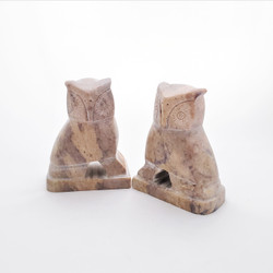 fair trade gorara stone owl bookends from India