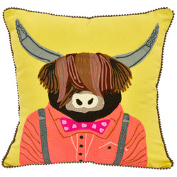 Fair Trade Embroidered Cow Pillow from India