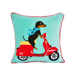Fair trade dog on scooter embroidered pillow from India