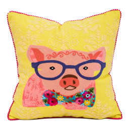 fair trade embroidered pig pillow from India