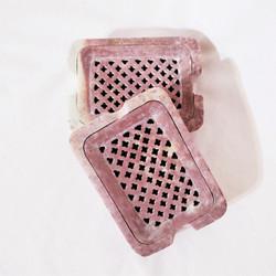 Fair trade carved gorara stone lattice work soap dish from India