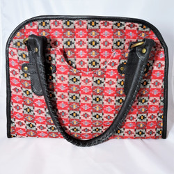 fair trade dhaka woven fabric and leather purse from Nepal