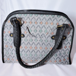 Fair trade dhaka fabric and leather purse from Nepal