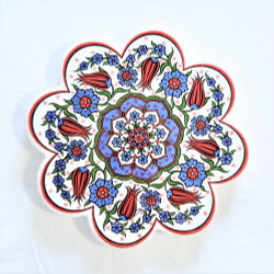 Fair trade scalloped edge ceramic trivet from Turkey