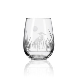 Heron etched stemless wine glass from United States