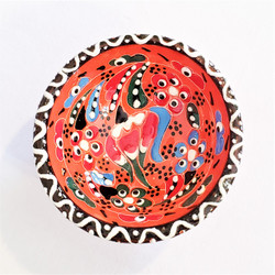 Fair trade hand painted relief style ceramic dipping bowl from turkey