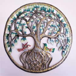 Fair Trade Recycled Steel Drum Tree of Life Wall Hanging from Haiti