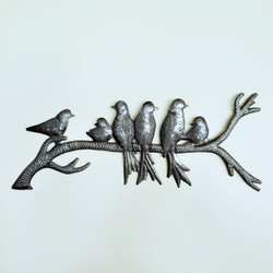 Fair Trade Recycled Steel Drum Birds on a Branch Wall Art from Haiti