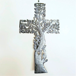 Fair trade recycled steel drum cross wall art from Haiti