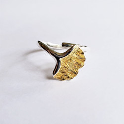 Fair trade sterling silver ginkgo leaf adjustable ring from China