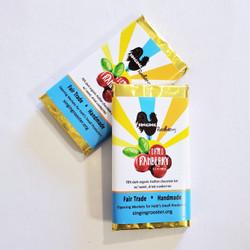 fair trade dried cranberry dark chocolate bar from Haiti