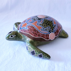 Fair Trade Hand Painted And Etched Volcanic Clay Turtle Sculpture from Nicaragua