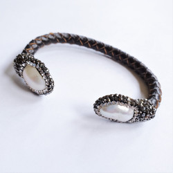 Fair trade leather, pearl, and crystal cuff bracelet from China