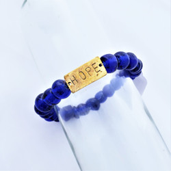 Fair Trade Recycled Glass Bracelet from Kenya Blue Bead with Hope