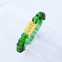 Fair Trade Recycled Glass Bracelet from Kenya Green Bead with Joy