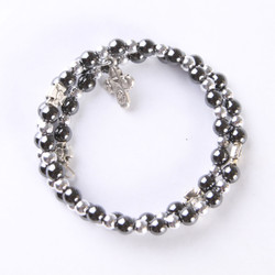 Fair Trade Hematite Bracelet with Cross from the Holyland