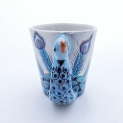 Fair Trade Handpainted Ceramic Mug with Peacock from Guatemala
