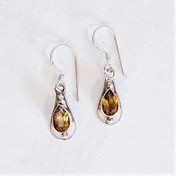 Fair trade citrine and sterling silver dangle earrings from Nepal