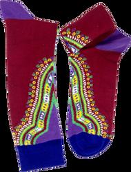 Fair trade Burkina cotton kente pattern socks from Ghana