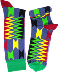 Fair trade Highlife Cotton Kente pattern socks from Ghana