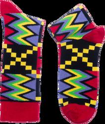 Fair trade Na Wash kente pattern cotton socks from Ghana