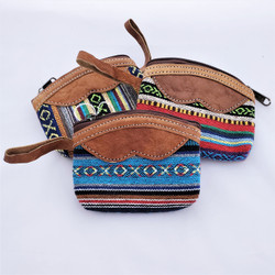 Fair Trade Woven Cotton Change Purse with Buffalo Hide Accents from Nepal