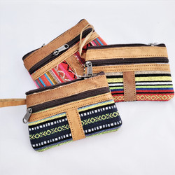 Fair Trade Woven Cotton Change Purse or Notion Bag with Buffalo Hide Accents from Nepal