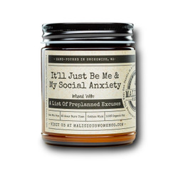 malicious women just me and my social anxiety soy candle in a jar