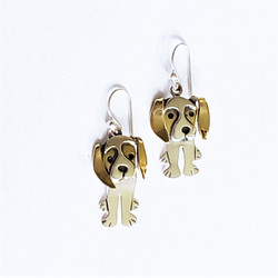 fair trade stainless steel & brass beagle puppy earrings from Mexico